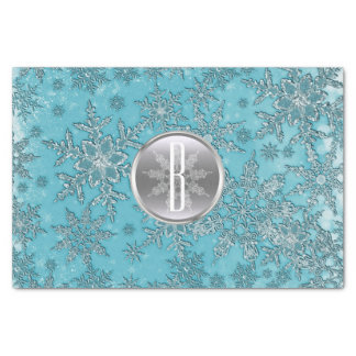 Teal Aqua Silver Snowflakes Winter Wonderland Tissue Paper