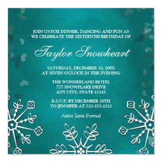 TEAL AQUA SNOWFLAKE SWEET SIXTEEN BIRTHDAY 13 CM X 13 CM SQUARE INVITATION CARD