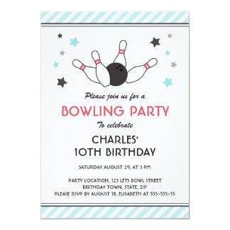 Teal aqua stripes bowling ball pins birthday party card