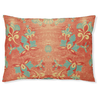 Teal, Aqua, Tangerine, Orange Abstract Floral Pet Bed