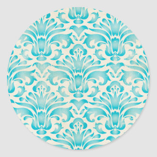Teal Aqua Watercolor Damask Ombre Blue Print Round Sticker