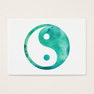 Teal Aqua Watercolor Yin Yang Taoism Balance Business Card