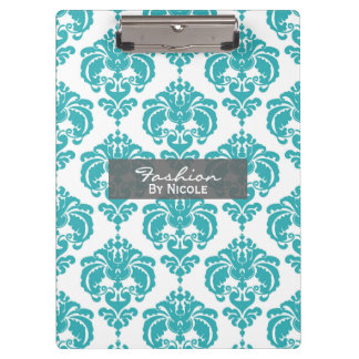 Teal Aqua White Damask Chic Glam Personalized Clipboard