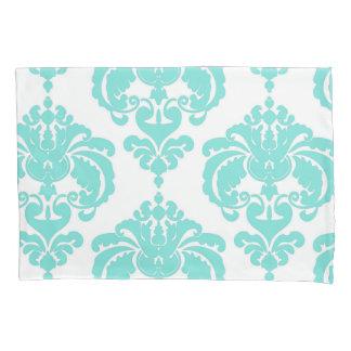 Teal Aqua & White Elegant Chic Damask Pattern Pillowcase