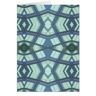 Teal Aquamarine Contemporary Linear Art Card