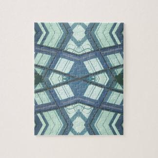 Teal Aquamarine Contemporary Linear Art Jigsaw Puzzle