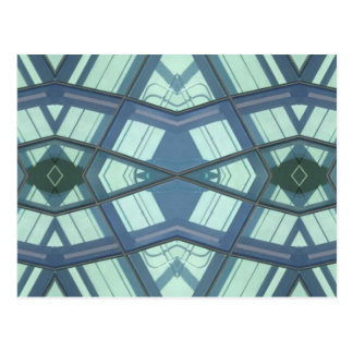 Teal Aquamarine Contemporary Linear Art Postcard