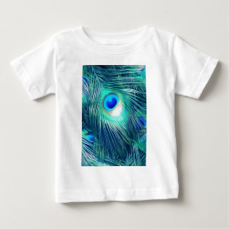 Teal Aquamarine Peacock Feather Baby T-Shirt