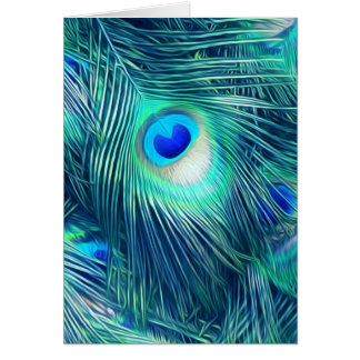 Teal Aquamarine Peacock Feather Card
