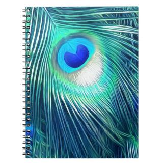 Teal Aquamarine Peacock Feather Notebooks