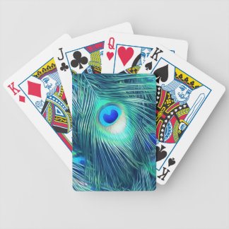 Teal Aquamarine Peacock Feather Poker Deck