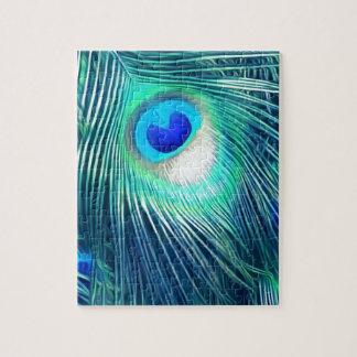 Teal Aquamarine Peacock Feather Puzzle