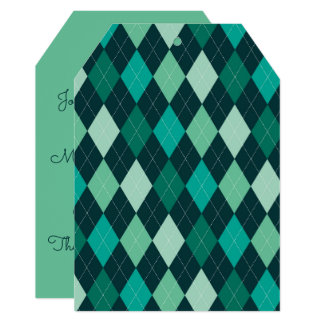 Teal argyle pattern card