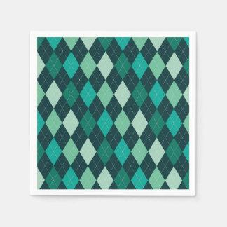 Teal argyle pattern paper napkin