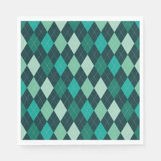Teal argyle pattern paper napkins