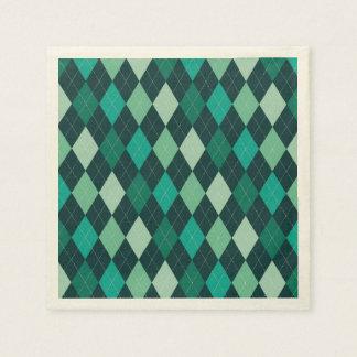 Teal argyle pattern paper serviettes