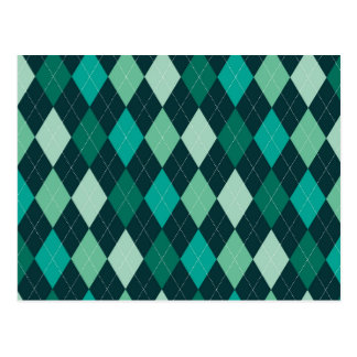 Teal argyle pattern postcard