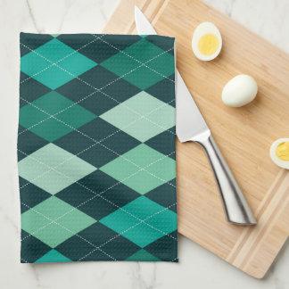 Teal argyle pattern towels