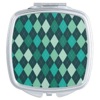 Teal argyle pattern travel mirror