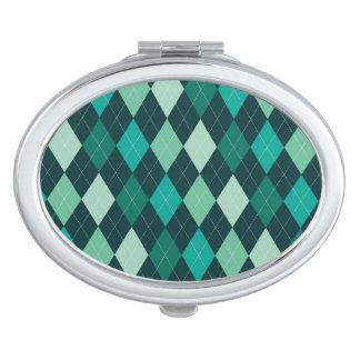 Teal argyle pattern vanity mirrors