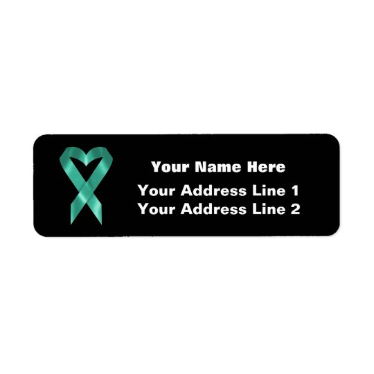 Teal Awareness Ribbon (customisable) Return Address Label