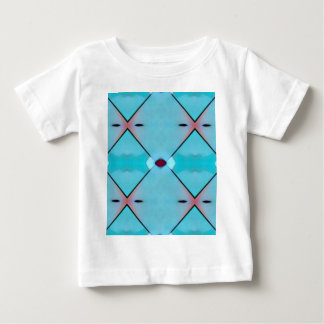 Teal Baby Blue Geometric Criss-cross Pattern Baby T-Shirt