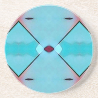 Teal Baby Blue Geometric Criss-cross Pattern Coaster