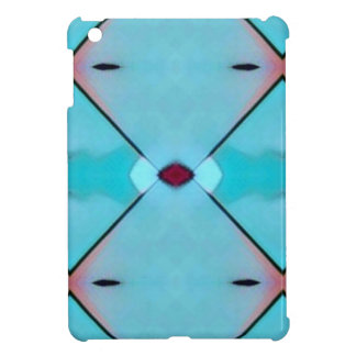 Teal Baby Blue Geometric Criss-cross Pattern iPad Mini Cover