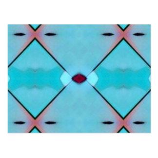Teal Baby Blue Geometric Criss-cross Pattern Postcard