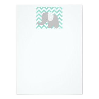 Teal Baby Elephant Shower Card