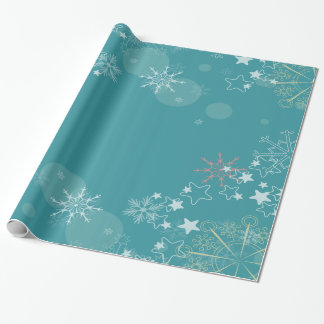 Teal Background with White Snowflakes Wrapping Wrapping Paper