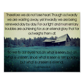 Teal Barn- 2 Corinthians 4:16-18 Poster