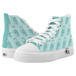 Teal Barn Owls Light Mint Shoes Printed Shoes
