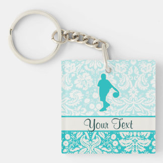 Teal Basketball Double-Sided Square Acrylic Keychain