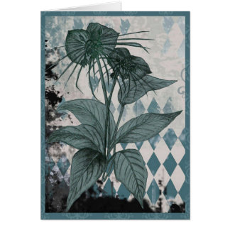 Teal Bat Plant Botanical Card
