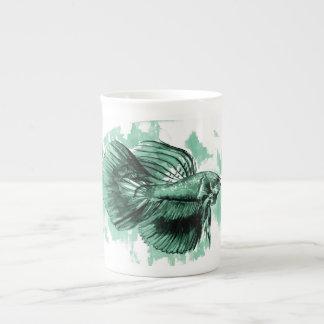 Teal Betta Fish Bone China Mug