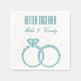 Teal Better Together Engagement   Wedding Napkins Disposable Napkin