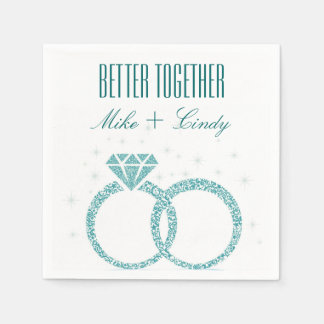 Teal Better Together Engagement | Wedding Napkins Paper Serviettes