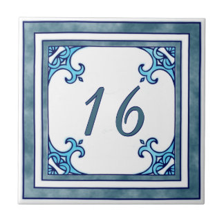 Teal Big House Number Ceramic Tile