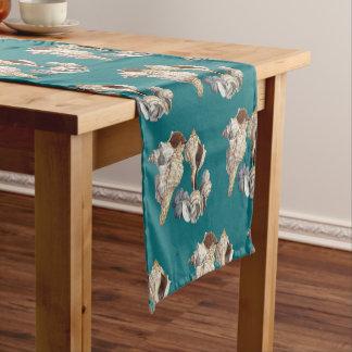 Teal Big Seashells Pattern Table Runner Cloth