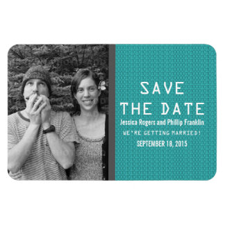 Teal Binary Code Photo Save the Date Magnet