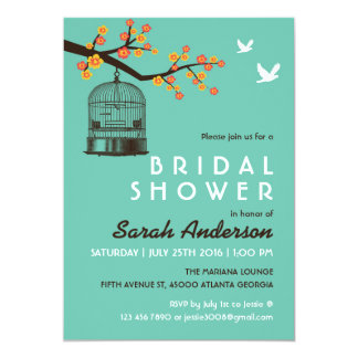 Teal Bird Cage Flower Bridal Shower Invitation