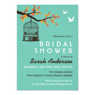 Teal Bird Cage Flower Bridal Shower Invitation