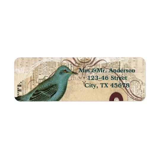 Teal Bird vintage floral botanical wedding Return Address Label
