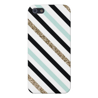 Teal, Black and Glitter Striped Case iPhone 5/5S Case