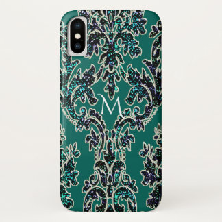 Teal Black and Gold Damask Print Monogram iPhone X Case