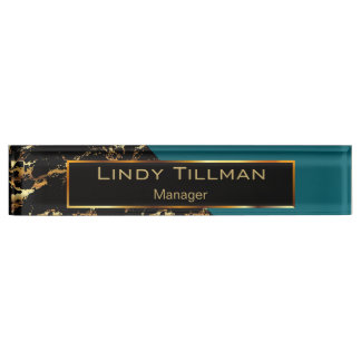 Teal, Black and Gold Marble Name Plate