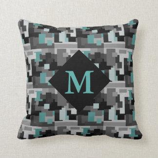 Teal, Black and Grey Digital Camouflage Monogram Cushion