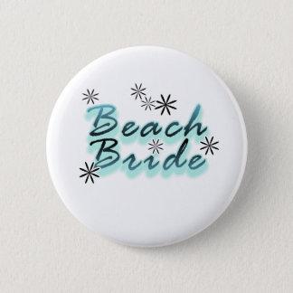 Teal/Black Beach Bride 6 Cm Round Badge