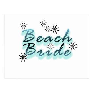 Teal/Black Beach Bride Post Card